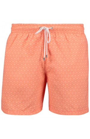 3D CUBE PRINT, ORANGE SWIM SHORTS