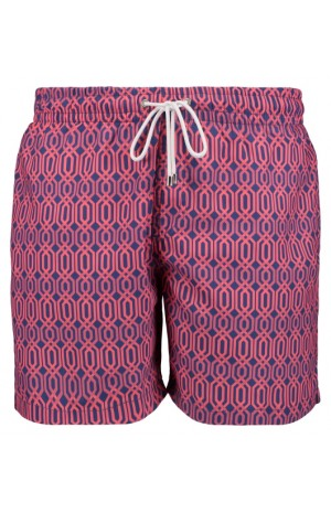 HEXAGON PRINT, BLUE AND PINK SWIM SHORTS