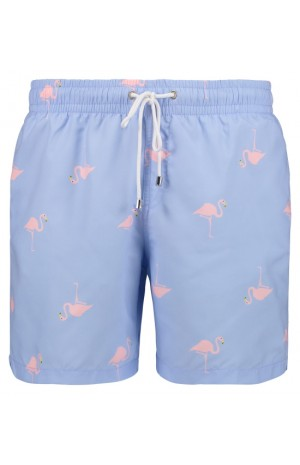 PINK FLAMINGO PRINT, BLUE SWIM SHORTS