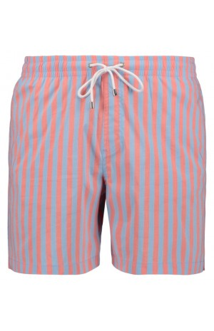 SALMON AND BLUE STRIPED SWIM SHORTS