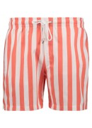 WHITE AND SALMON STRIPED SWIM SHORTS