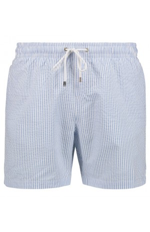 SKY BLUE STRIPED SEERSUCKER SWIM SHORTS