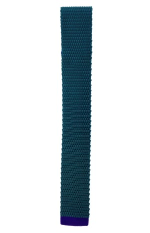 SILK GREEN WITH BLUE KNITTED TIE